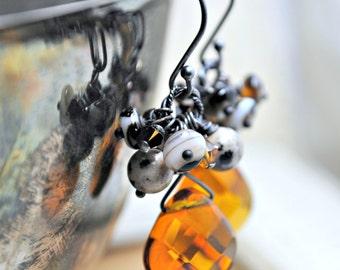 Cluster Dangle Earrings, Amber Quartz Earrings, Oxidized, Garnet Swarovski Crystals, Dalmatian Jasper, Black Onyx, Under 30
