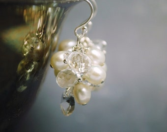 Bridal Pearl Earrings, Freshwater Pearl Cluster Earrings, Wedding Earrings, Bridal Jewelry, Beach Wedding Earrings, Bridesmaids Earrings