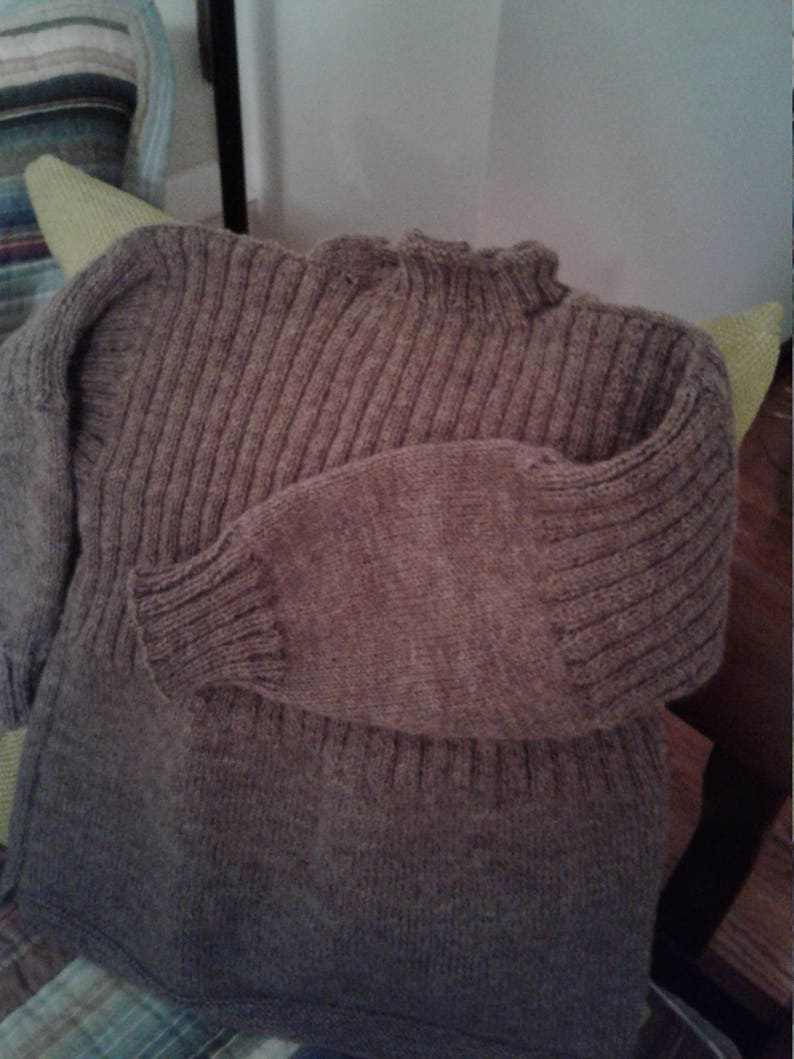 70f45079102 Traditional Guernsey Sweater in Taupe by Never Felt Better