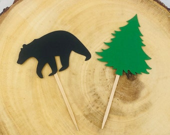 Bear and Tree Cupcake Toppers, Lumberjack Party Toppers, Camping Party Toppers, Cottage Party Toppers, Hunting Party. Woodland Party