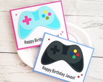 Personalized Videogame Controller Gamer Birthday Card Choice Of Colour
