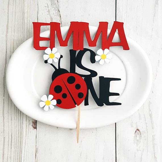 Phenomenal Personalized First Birthday Ladybug Cake Topper Ladybug Party Etsy Funny Birthday Cards Online Kookostrdamsfinfo