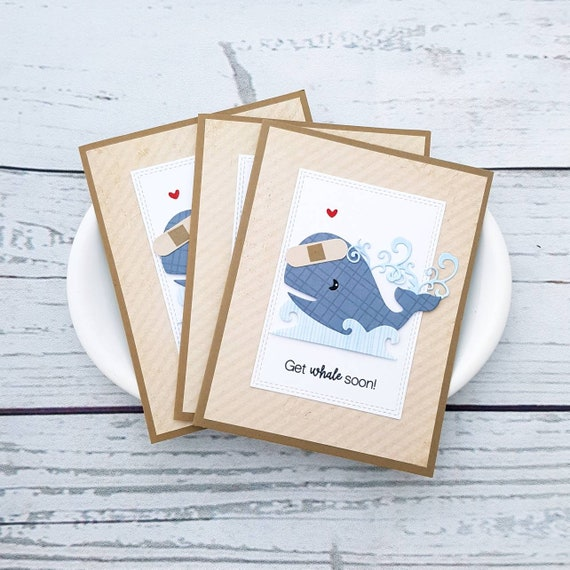 Get whale soon! Cute Whale Themed Get Well Card. Pun Greeting Card. Handmade.