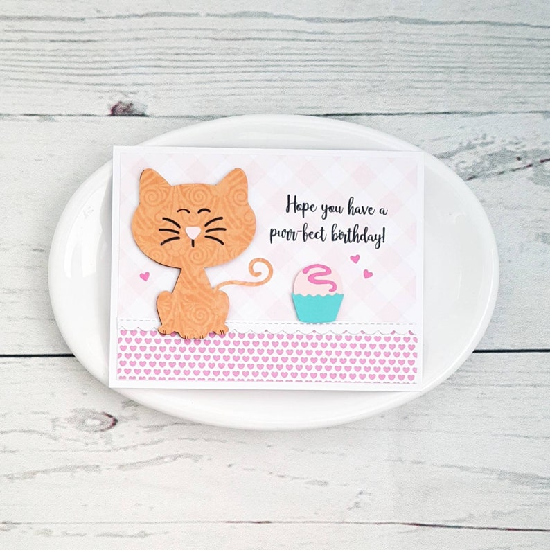 Purrfect Birthday Cat Themed Card