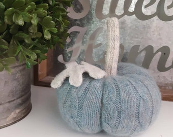 Luxurious Cashmere and Shetland Wool Pumpkin, Cozy Knit, Fall Decor, Autumn Decor, Cottage, Coastal, Recycled, Blue Gray Oatmeal, Cozy Home