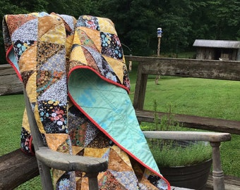 Lap Quilt, Throw Quilt, Star Quilt, Scrappy Quilt, Cozy Quilt, Heirloom Quilt, Handmade, Made in USA