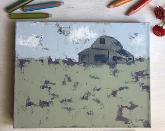 Lavender Farm - Barn Landscape Painting, Original Art, Farmhouse Decor, Cottage Style, Country Living