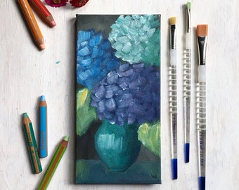 Hydrangeas Painting, Original Art, Eclectic Decor, Cottage Style, Country Living