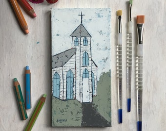 Blessed Assurance, Church Painting, Original Art, Farmhouse Decor, Cottage Style, Country Living