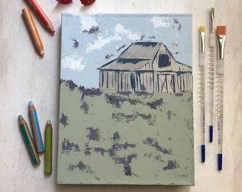 Lavender Field - Barn Landscape Painting, Original Art, Farmhouse Decor, Cottage Style, Country Living