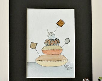 Antique Pincushions Original Watercolor by Lana Manis, Primitive, Folk Art, Sewing, Ready to Frame
