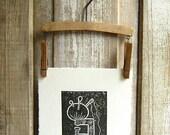 Antique Pincushion Clamp Block Print - Rustic Country Farm House Wall Art