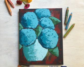 Rustic Blues, Hydrangeas, Palette Knife Painting, Original Art, Farmhouse Decor, Cottage Style, Country Living