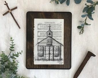 Vintage Hymns Wall Art, Rustic, Cottage, Farmhouse, Church, Nostalgia, Sketch, Pen, Charcoal, Faith, Cross, Christian Art, Bible