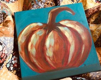 Autumn Delight, Fall Decor, Pumpkin Painting, Original Art, Farmhouse Decor, Cottage Style, Country Living