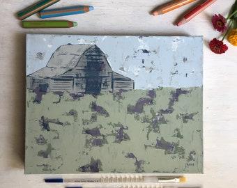 Lavender Meadow - Barn Landscape Painting, Original Art, Farmhouse Decor, Cottage Style, Country Living