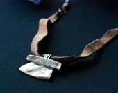 Pit and Pendulum Brass Leather Beaded Men's Necklace