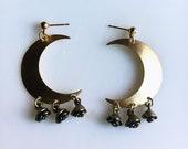 Luna Rose Crescent Moon Earrings / Crescent Moon Earrings Gold / Gold Moon Earrings with Rose Charms / Festival / Boho Earrings