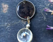 Ghost Story Necklace - Vintage Tintype Photo Pendant with mustard seed glass orb