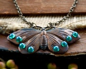 Rebirth Butterfly Necklace / Moth Necklace / Art Nouveau Butterfly Jewelry / Oxidized Dark Copper Butterfly / Insect Jewelry