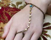 Star Gazer Bracelet with Gold Stars - Celestial Blue Lavender or Amethyst - Gold Star Bracelet -Slave Bracelet and Ring