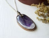 Amethyst Necklace / Amethyst Wrapped Pendant / Wire Wrapped Geode Slice / Amethyst Crystal Pendant