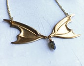 Vampire Lestat Bat Wing Necklace with Labradorite Spike / Bat Wing Necklace