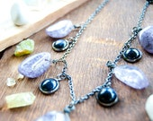 Protector - Purple Agate Necklace with Blue Goldstone / Crystal Gemstone / Healing Stone Necklace