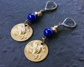 Pegasus Earrings with Cobalt Blue Galaxy Beads / Pyrite Beaded / Geometric Beads / Mythology Gift for Her