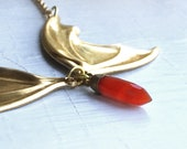 Vampire Lestat Bat Wing Necklace with Carnelian Spike / Bat Wing Necklace / 24k Gold Electroplated Carnelian Spike