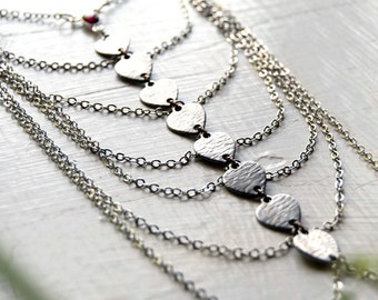 Beowulf Gothic Chest Harness - Silver Multi Chain Necklace with Garnet / Edgy Fashion Gothic