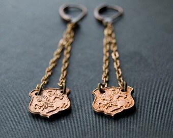 Eternal Shield - Copper Stamping Shield Long Earrings - Copper Jewlery