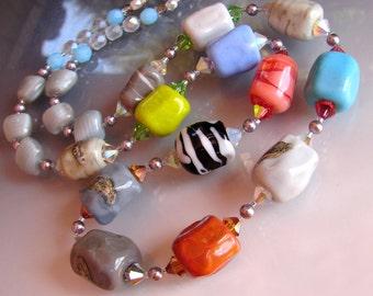 SALE. LUCITA Rocks Necklace. Glass handmade Murano Rocks Lampwork Beads. Jewelry Fine Arts. Pendant. Openstudio Openstudiobeads Made in USA.