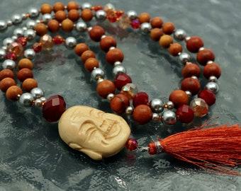BUDDHA SIENNA Bone, Handmade Long Beaded Silk Tassel Necklace. Jewelry Fine Art. Bohemian, Boho, Ethnic, Urban. OPENSTUDIO. Openstudiobeads.