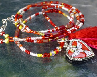 PROTECTION Holy Spirit Heart NECKLACE. Handmade Good Luck Jewelry Art. Seed Beads. Cotton Tassel. Interchangeable Charms. Openstudiobeads.