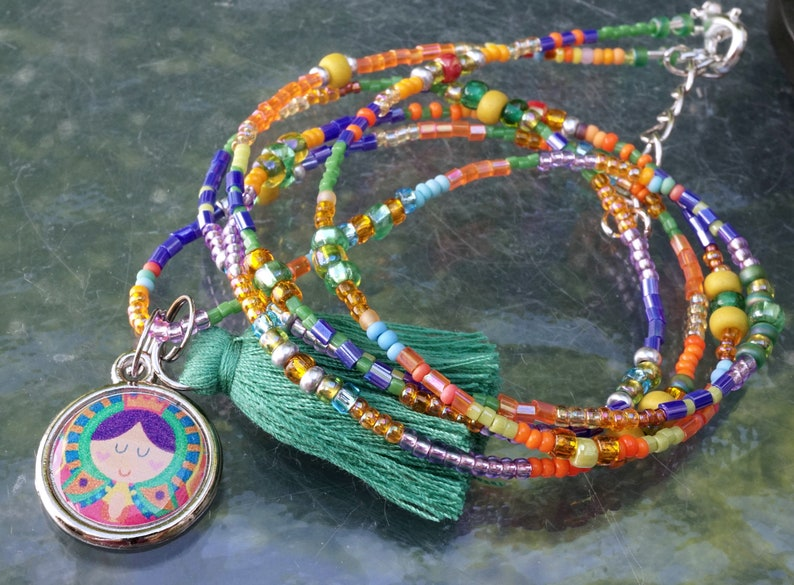 Handmade Beaded Good Luck Jewelry PROTECTION Princess long NECKLACE Openstudiobeads Cotton Tassel Interchangeable Charms Tiny Seed Beads