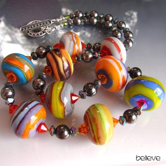 Murano Necklace chocker OPENSTUDIO DELTA Fine Arts Jewelry Single round focal pendant Glass Lampwork Handmade Beads Openstudiobeads.