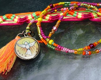 PROTECTION Holy Spirit Medal NECKLACE Friendship BRACELET. Good Luck Jewelry Seed Beads Cotton Tassel Interchangeable Charms Openstudiobeads