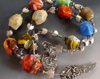 SALE. An ANGEL On Earth. Glass Rocks Handmade Lampwork big Beads. Beaded Murano Jewelry. Necklace. Openstudio. Openstudiobeads. Made in USA.