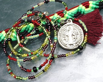PROTECTION Saint Benedict Medal NECKLACE Friendship BRACELET. Good Luck Jewelry Seed Beads. Cotton Tassel Interchangeable Charms. Openstudio