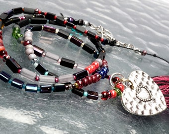 PROTECTION Handmade HEART Necklace. Good Luck Jewelry Art. Silk Thread.  Cotton Tassel. Interchangeable Charms. Bohemian. Openstudiobeads.