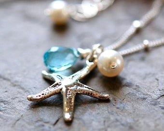 Southampton Starfish Charm Necklace, Sky Blue Topaz, Freshwater Pearl, Sterling Silver Chain