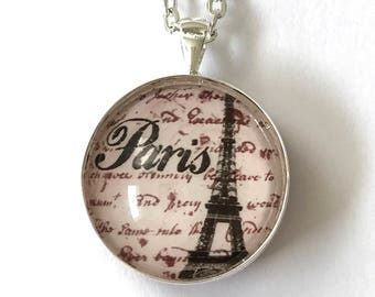 2-Sided Reversible Silver-Plate Vintage Eiffel Tower Paris, France Black Pink Fleur de Lis Script Round Glass Cabachon Pendant Necklace