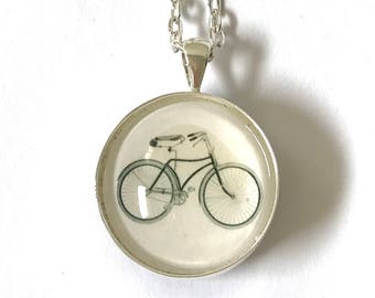 2-Sided Reversible Silver-Plate Bicycle Penny Farthing Old Fashioned Bike Black and White  Illustration Glass Cabachon Pendant Necklace
