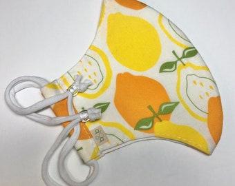 Lemon Citrus Adjustable Fitted Cloth Face Mask
