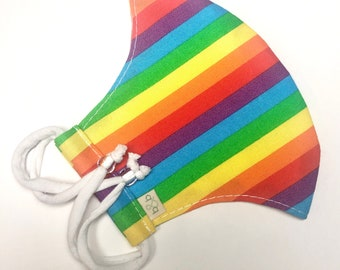 Rainbow Stripe Adjustable Fitted Cloth Face Mask