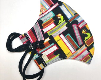 Bookworm Adjustable Fitted Cloth Face Mask