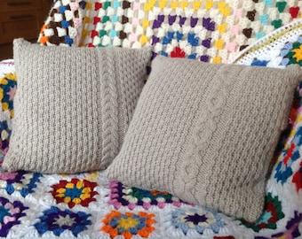 Weald Oak Cabled Cushions - Knitting Pattern PDF
