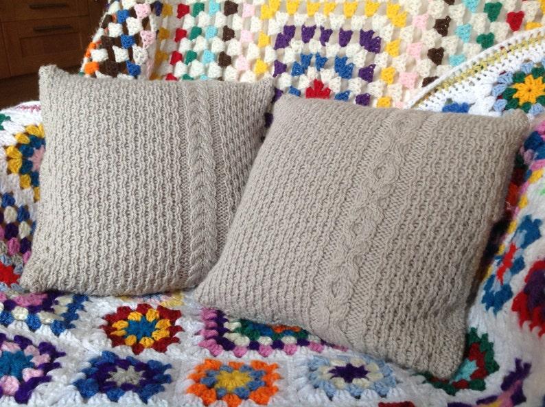 Weald Oak Cabled Cushions  Knitting Pattern PDF image 0