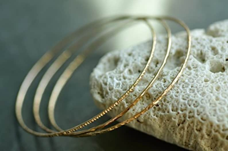 set of 3-3 textures 14k gold filled hammered skinny Stacking Bangles